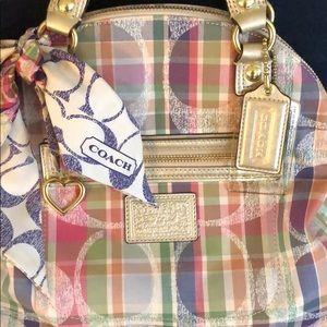 Coach Poppy pastel plaid handbag